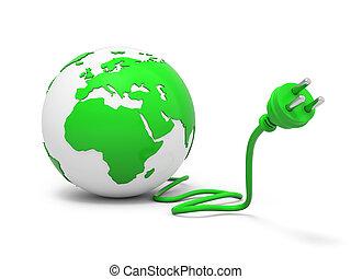 3d green globe sphere with green plug