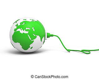 Green globe with plug
