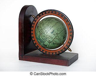 Green globe - Wooden globe