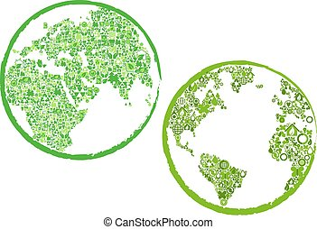 Green globes with eco and environment icons