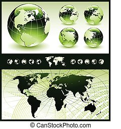 Vector illustration of globe in five different positions and conceptual background with world map