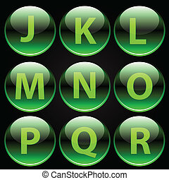 Green glossy alphabet letters (J-R)