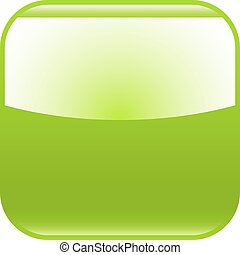 Green glossy button blank icon square empty shape