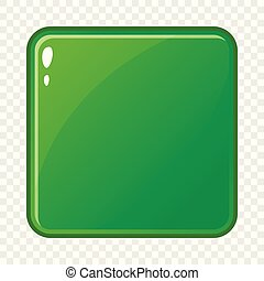 Green glossy button icon, cartoon style