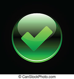 Green glossy button with check mark sign on white