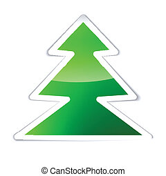 Green Glossy Christmas tree isolated on white background
