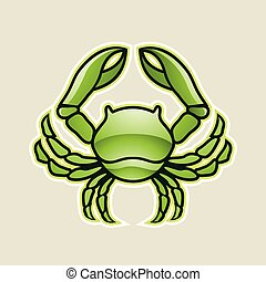 Green Glossy Crab or Cancer Icon Vector Illustration