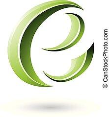 Green Glossy Crescent Shape Letter E Vector Illustration