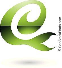 Green Glossy Curvy Fun Letter E Vector Illustration