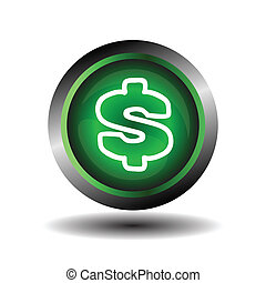 Green glossy Dollar sign button
