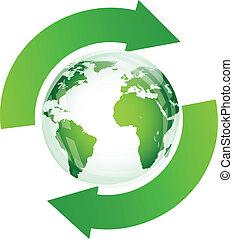 Green glossy globe recycle