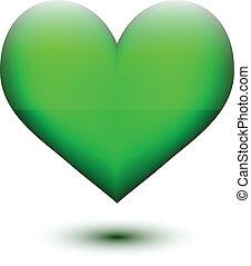 Green glossy heart