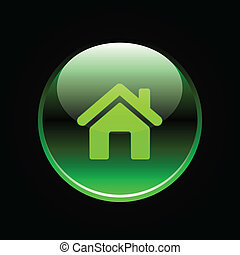 Green glossy home button