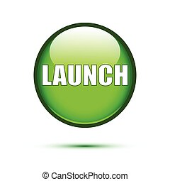 Green glossy Launch button on white