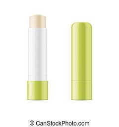 Green glossy lip balm stick. Realistic packaging mockup...