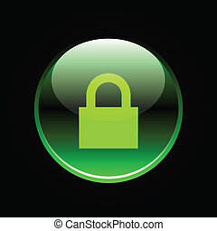 Green glossy lock button on black