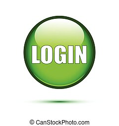 Green glossy login button on white