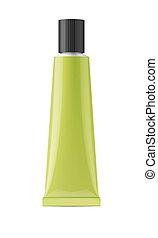 Green glossy metal tube for glue