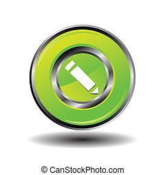 Green glossy pencil icon vector