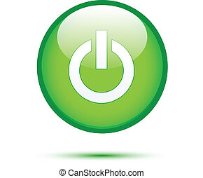 Green glossy power button