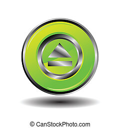Green glossy round button web eject