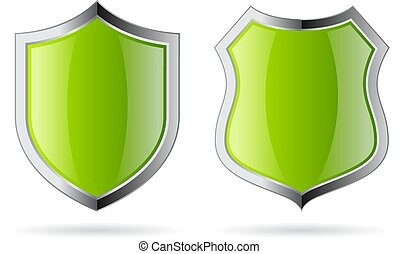Green glossy security shield icon