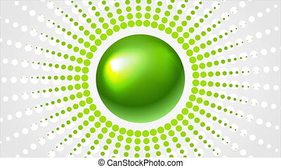 Green glossy sphere and halftone abstract motion design. ...