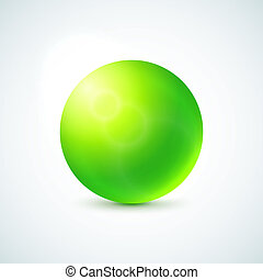 Green glossy sphere isolated on white