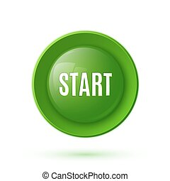 Green glossy start button icon
