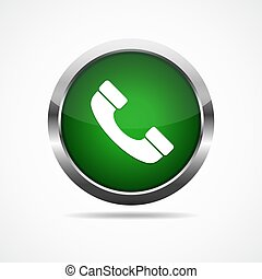 Green glossy telephone button. Vector illustration