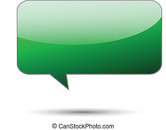 Green glossy word bubble on white