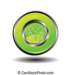 Green glossy yen button vector sign