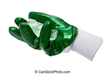 Green glove with block