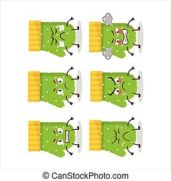 Green gloves cartoon character with various angry expressions