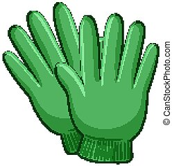 Green gloves in cartoon style isolated on white background