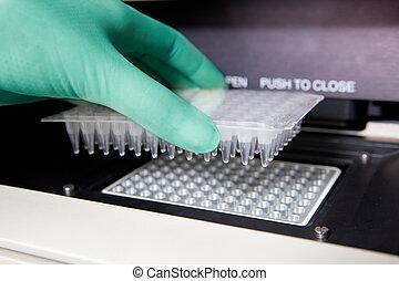 Green gloves, Thermal PCR cycler, DNA copy, close