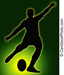 Green Glow Ball Sport Silhouette - Rugby Football Kicker