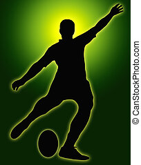 Green Glow Sport Silhouette - Rugby Football Kicker