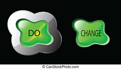 green glowing button splash