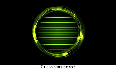 Green glowing electric rings and neon lines video animation