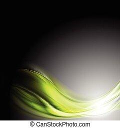 Green glowing waves on dark background