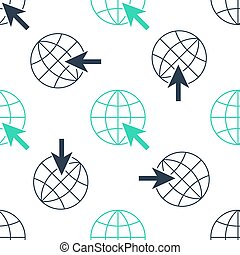 Green Go To Web icon isolated seamless pattern on white background. Globe and cursor. Website pictogram. World wide web symbol.  Vector