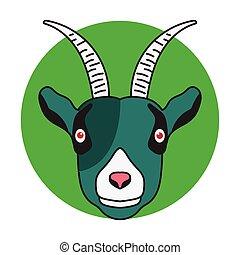 green goat face head cartoon mascot illustration