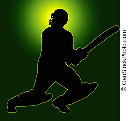 Green Gold Back Sport Silhouette - Cricket Batsman - Green...