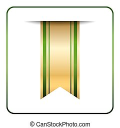 Green gold bookmark banner isolated