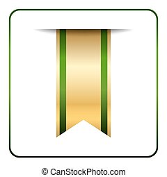 Green gold bookmark isolated