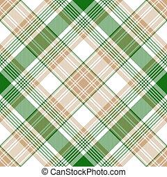 Green gold check diagonal plaid seamless pattern