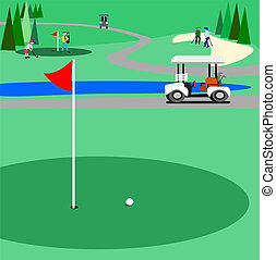 Illustration of a golf course with people golfing and enjoying the game. There is a trail for the golf carts to use.