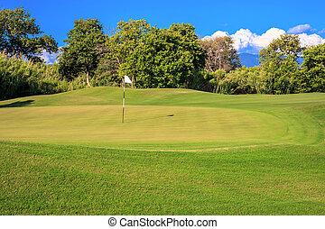 green golf course in a Greek resort