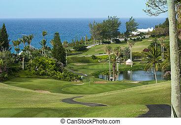 Green golf field on Bermuda